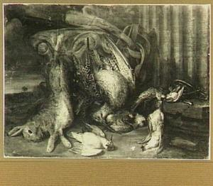 Jachtstilleven met haas en gevogelte