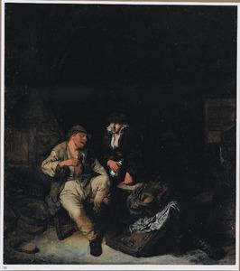 Boerenpaar in een herberg met triktrakbord en een viool