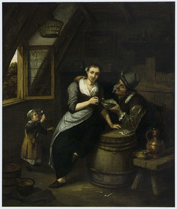 Een man, vrouw en een kind in zolderkamer
