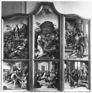 Christus in het voorgeborchte, de opstanding (links); de nederdaling van de Heilige Geest, de hemelvaart (midden); Christus voor Kajafas, Christus voor Pilatus (rechts)