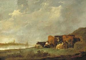 Melkmeid aan de oever van de Oude Maas