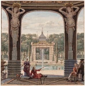 Paviljoen in het park van het Huis Heemstede bij Houten, gezien in de richting van het Huis