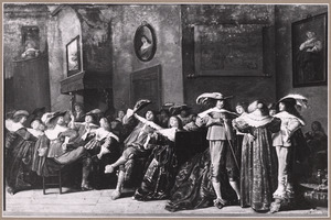 Elegant zingend en converserend gezelschap in een interieur