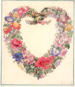 Een hart gevormd van bloemen