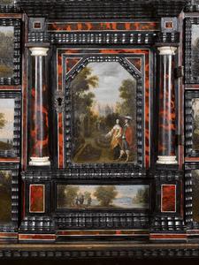 Elegant paar in een formele tuin (boven); landschap met figuren (onder)