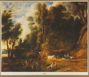 Boslandschap met drenkplaats