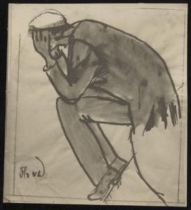 Zittende man met hoofd in de handen (motief denker)