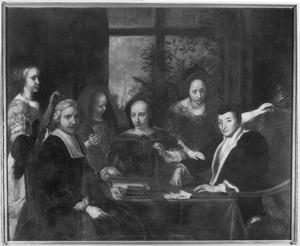 Groepsportret van een onbekende juwelier en zijn familie