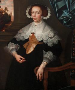 Portret van een vrouw genaamd Florence Marguerite de Renesse-Warfusée (1620-1665)