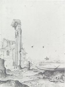 Ruïnes van het Forum Romanum  met de drie zuilen van de tempel van Castor en Pollux