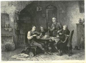 Vier musicerende mannen in een interieur