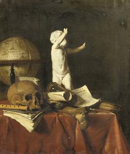 Vanitasstilleven met een schedel, globe en sculptuur van een putto