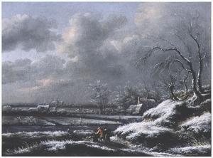 Winterlandschap met gezicht op een polder
