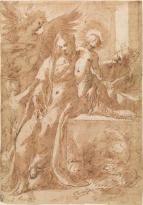 De Heilige Familie met het Johannes de Doper als kind en de Heilige Elisabeth