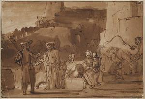 De oude man uit Gibea biedt de Leviet en zijn concubine onderdak aan (Richteren 19: 15-21)