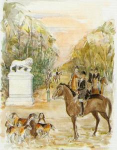 Samenkomst voor de jacht aan de Allée des Lions, Chantilly
