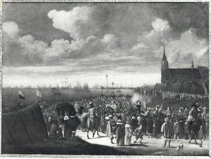 Vertrek van Karel II van Engeland vanaf het strand bij Scheveningen, 1659