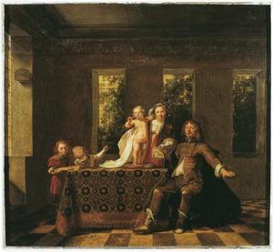 Portret van Johannes Pater (?-?),Anna (Annichjen) Wttenham (1650-?) en hun kinderen