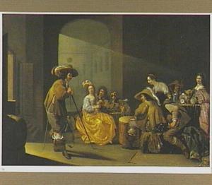 Wachtlokaal met soldaten en vrouwen bij het kaartspel