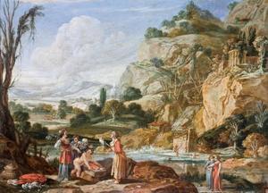 Farao's dochter en haar dienaressen vinden Mozes (Exodus 2:9-10)