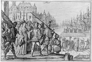 Koningin Philippa verdedigt Kopenhagen tegen de Hanzevloot in 1428