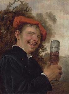 Allegorie op de smaak: Young man in een zwarte jas met een pasglas in de hand