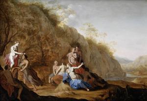 Een scène uit Pastor Fido: de bekransing van Mirtillo (de kuswedstrijd)