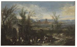 Uitgestrekt landschap met figuren bij een tombe