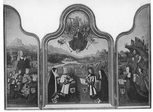 Altaarstuk met het Laatste Oordeel: Gijsbrecht van Duvenvoirde (1449-....) en zijn vijf zonen en Maria (linker luik), Het Laatste Oordeel met (van links naar rechts) Agniese van Raephorst (....-....), Daniel van Noordwijk (....-1501), Jacob van Noordwijk (....-1504) en Aleid Jan Foeyendr.  (....-1512) (middenpaneel), Anna van Noordwijk (1486-1551)en haar dochter en de H. Johannes de Doper (rechter luik)