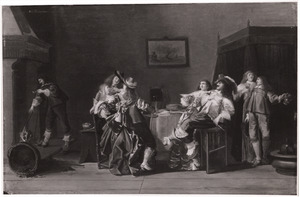 Elegant drinkend en rokend gezelschap in een interieur