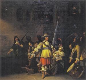 Een sectie van een leger verzamelt om te vertrekken