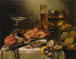 Stilleven met een krab, citroen, een zoutvat en drinkglazen