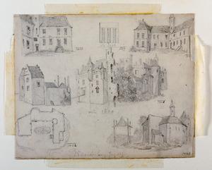 Zeven schetsjes van kasteel Waardenburg, met in het midden de vroeg zeventiende-eeuwse staat