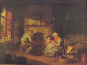 Interieurscene met handwerkende vrouw