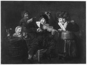 Vier musicerende kinderen in een interieur