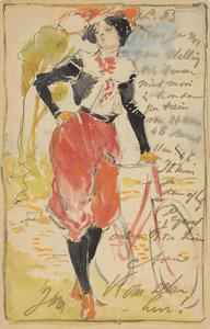 Dame met fiets, rode broek