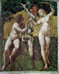 De slang tracht Eva over te halen het fruit van de boom te plukken; Adam tracht haar te weerhouden (Genesis 3:6)