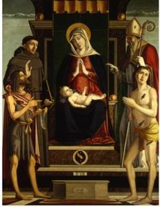 Tronende Maria met Johannes de Doper, Franciscus van Assisi, Sedbastiaan en Nicolaas van Bari