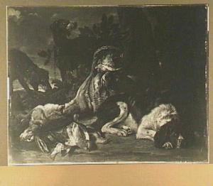 Drie honden bij een jachtbuit van haas en gevogelte