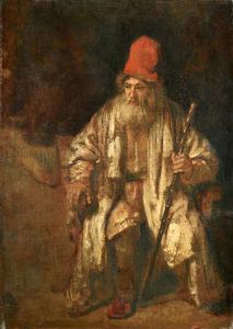 Oude man met rode muts