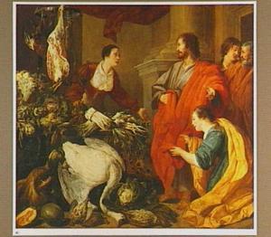 Christus in het huis van Martha en Maria met een stilleven met groente en gevogelte
