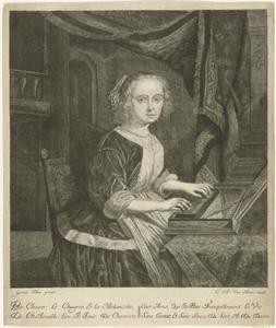 Jonge vrouw achter het klavichord