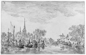 Dorp aan een rivier met boten