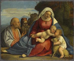 Maria met het kind, de kleine Johannes de Doper, Petrus en Antonius de Heremiet
