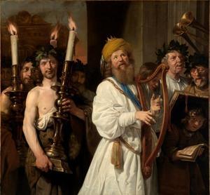 David loopt harpspelend en dansend voor de ark des verbonds in een linnen hemd  (2 Samuel 6:11-14)
