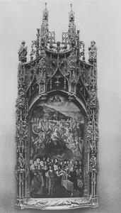 Maria met kind omgeven door groepen figuren en de stichter Andrien du Pré of Després (Le Puy d'Amiens de 1519)