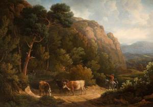 Bergachtig landschap met koeien