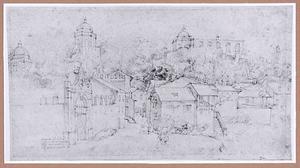 Italliaans stadsgezicht met toegang tot de wijngaard van een kardinaal