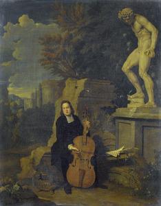 Jonge man die een cello speelt in een landschap met antiek beeldhouwwerk en ruïnes