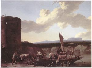 Zuidelijk landschap met veerpont bij een ronde toren